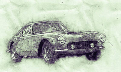 Mixed Media Royalty Free Images - Ferrari 250GT Berlinetta 3 - Tour de France - Sports Car - Automotive Art - Car Posters Royalty-Free Image by Studio Grafiikka