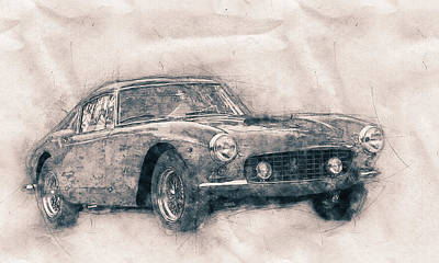 Mixed Media Royalty Free Images - Ferrari 250GT Berlinetta - Tour de France - Sports Car - Automotive Art - Car Posters Royalty-Free Image by Studio Grafiikka