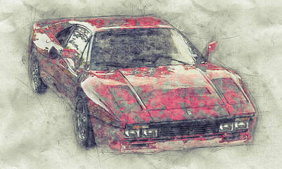 Royalty-Free and Rights-Managed Images - Ferrari 288 GTO 1 - Sports Car - 1984 - Automotive Art - Car Posters by Studio Grafiikka