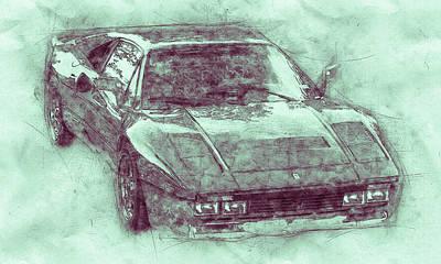 Mixed Media Royalty Free Images - Ferrari 288 GTO 3 - Sports Car - 1984 - Automotive Art - Car Posters Royalty-Free Image by Studio Grafiikka