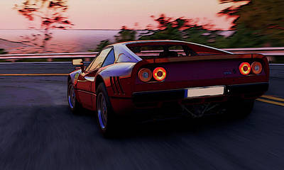 Painting - Ferrari 288 Gto At Sunset - 2 by Andrea Mazzocchetti