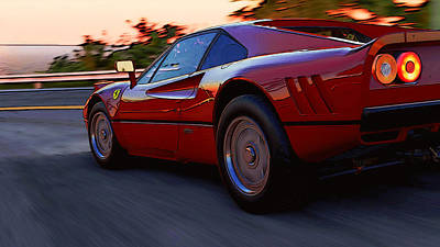 Painting - Ferrari 288 Gto At Sunset - 3 by Andrea Mazzocchetti