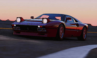 Painting - Ferrari 288 Gto At Sunset by Andrea Mazzocchetti