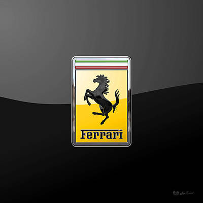 Digital Art - Ferrari - 3 D Badge On Black by Serge Averbukh
