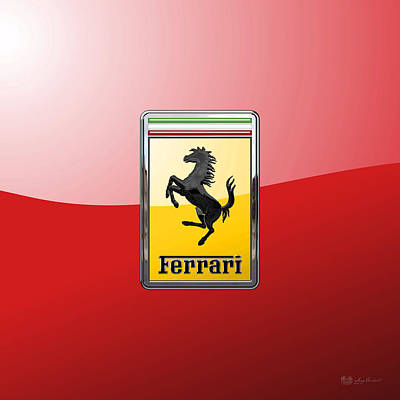 Digital Art - Ferrari - 3 D Badge On Red by Serge Averbukh