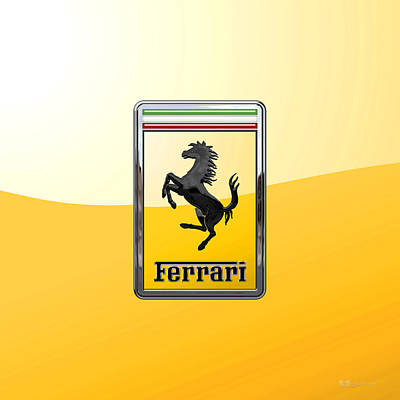 Digital Art - Ferrari - 3 D Badge On Yellow by Serge Averbukh