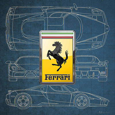 Digital Art - Ferrari 3 D Badge Over Enzo Ferrari Blueprint  by Serge Averbukh