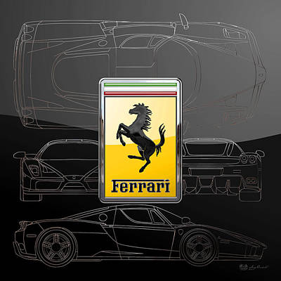 Digital Art - Ferrari  3 D  Badge Over Enzo Ferrari Silver Blueprint On Black Special Edition by Serge Averbukh