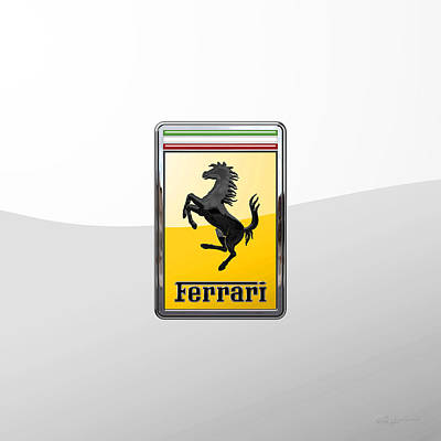 Digital Art - Ferrari 3 D Badge Special Edition On White by Serge Averbukh