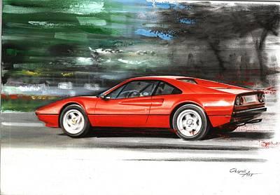 Super Cars Drawing - Ferrari 308 Gtb by Artem Oleynik