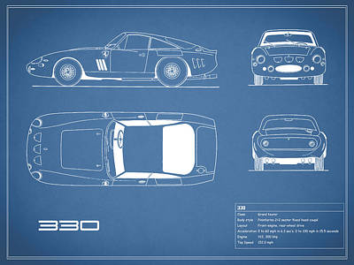 Ferrari 330 Blueprint Art Print by Mark Rogan