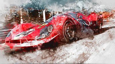 Painting - Ferrari 330 P4 - Watercolor 05 by Andrea Mazzocchetti