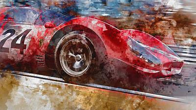 Painting - Ferrari 330 P4 - Watercolor 06  by Andrea Mazzocchetti