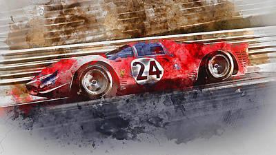 Painting - Ferrari 330 P4 - Watercolor 07 by Andrea Mazzocchetti