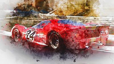 Painting - Ferrari 330 P4 - Watercolor 08  by Andrea Mazzocchetti