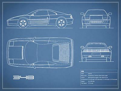 Italian Classic Cars Photograph - Ferrari 348 Blueprint by Mark Rogan