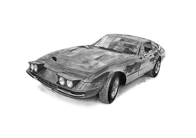 Sport Car Drawing - Ferrari 365 Gtb 4 Daytona by Gabor Vida