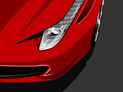 Cars Wall Art - Digital Art - Ferrari 458 Italia by Michael Tompsett