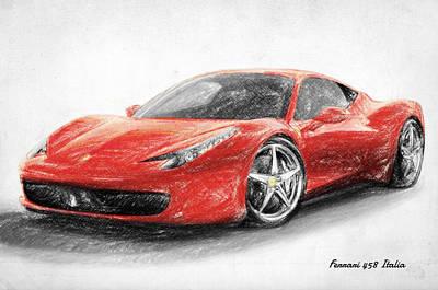 Italian Classic Car Drawing - Ferrari 458 Italia by Taylan Apukovska
