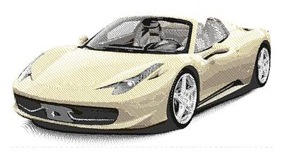 Drawing - Ferrari 458 Spider - Parallel Hatching by Samuel Majcen