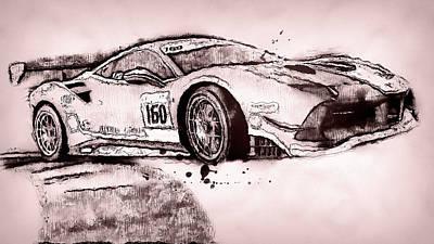Painting - Ferrari 488 Challenge - 57 by Andrea Mazzocchetti