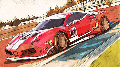 Painting - Ferrari 488 Challenge - 59 by Andrea Mazzocchetti