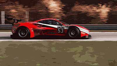Painting - Ferrari 488 - Full Speed by Andrea Mazzocchetti