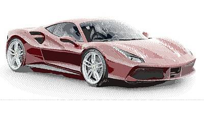 Drawing - Ferrari 488 Gtb - Parallel Hatching by Samuel Majcen