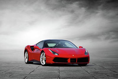 Digital Art - Ferrari 488 Gtb by Peter Chilelli