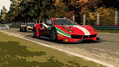 Painting - Ferrari 488 - Italian Power by Andrea Mazzocchetti