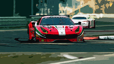 Painting - Ferrari 488 - Race Day by Andrea Mazzocchetti