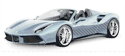 Drawing - Ferrari 488 Spider - Parallel Hatching by Samuel Majcen