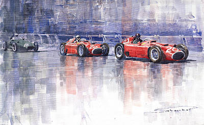 Sports Cars Painting - Ferrari D50 Monaco Gp 1956 by Yuriy  Shevchuk