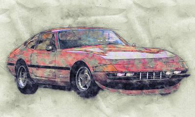 Mixed Media Royalty Free Images - Ferrari Daytona 1 - Ferrari 365 GTB4 - Sports Car - Automotive Art - Car Posters Royalty-Free Image by Studio Grafiikka