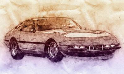 Sports Mixed Media - Ferrari Daytona 2 - Ferrari 365 GTB4 - Sports Car - Automotive Art - Car Posters by Studio Grafiikka