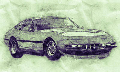 Royalty-Free and Rights-Managed Images - Ferrari Daytona 3 - Ferrari 365 GTB4 - Sports Car - Automotive Art - Car Posters by Studio Grafiikka