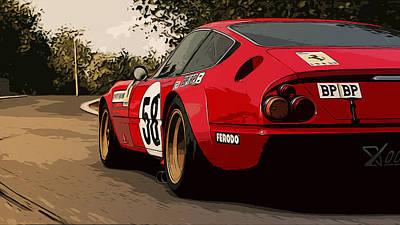 Painting - Ferrari Daytona 365 Gtb4 - Trackday  by Andrea Mazzocchetti