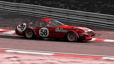 Painting - Ferrari Daytona - Vintage Masterpiece by Andrea Mazzocchetti