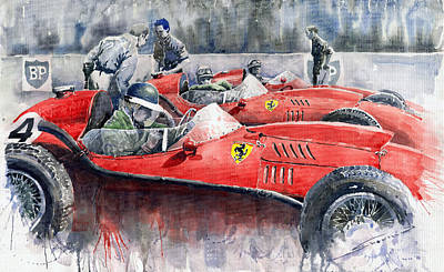 Watercolour Painting - Ferrari Dino 246 F1 1958 Mike Hawthorn French Gp  by Yuriy  Shevchuk
