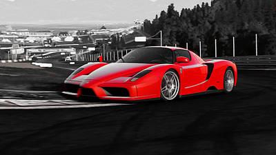 Painting - Ferrari Enzo - Colorsplash by Andrea Mazzocchetti