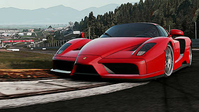 Painting - Ferrari Enzo - Red Power by Andrea Mazzocchetti