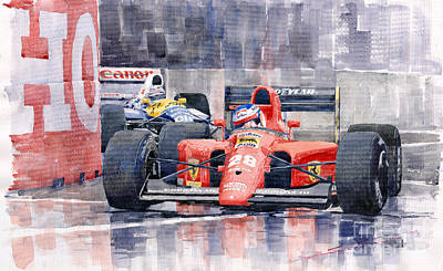 Watercolor Sports Painting - 1991 Ferrari F1 Jean Alesi Phoenix Us Gp Arizona 1991 by Yuriy  Shevchuk