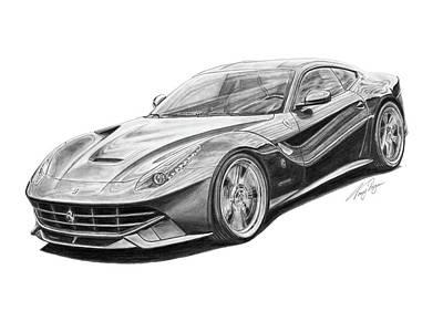 Super Cars Drawing - Ferrari F12 Berlinetta by Tony Regan