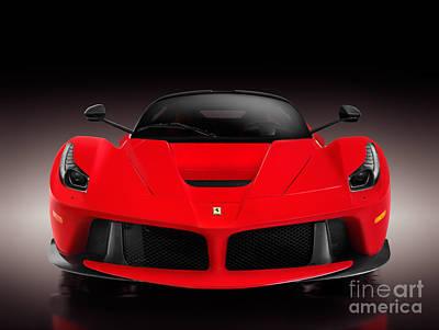 Cars Photograph - Ferrari F150 Laferrari Supercar Sports Car Front View On Black by Oleksiy Maksymenko