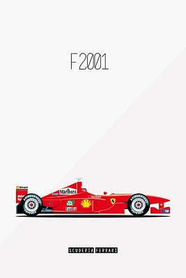 Ferrari F2001 F1 Poster Art Print by Beautify My Walls