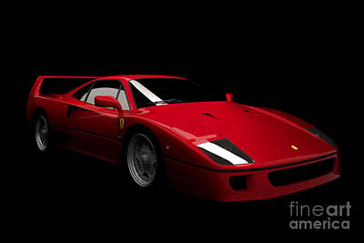 Digital Art - Ferrari F40 by David Marchal