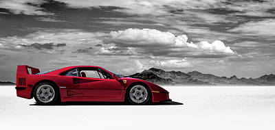 Cloudy Digital Art - Ferrari F40 by Douglas Pittman