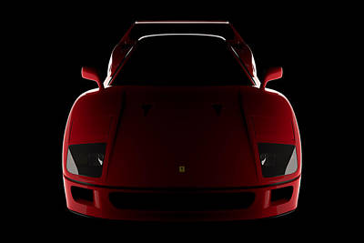 Digital Art - Ferrari F40 - Front View by David Marchal