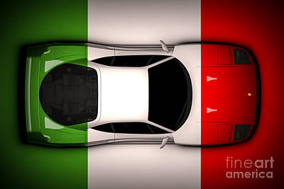 Digital Art - Ferrari F40 - Italian Flag by David Marchal