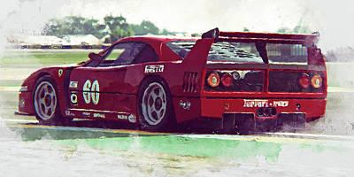 Painting - Ferrari F40 Lm - 70 by Andrea Mazzocchetti
